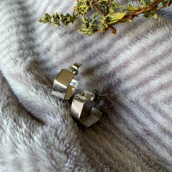 Silver Toned Hexagon Cuff Hoop Earrings